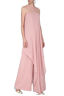 Blush Pink Asymmetrical Jumpsuit by Swatee Singh