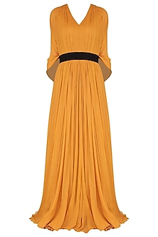 Mustard Gown with Kaftan Drape