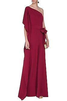 Red One Shoulder Drape Jumpsuit by Swatee Singh