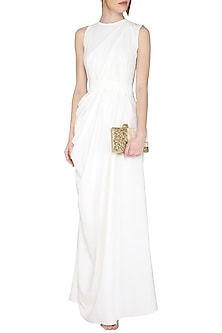 Ivory Cropped Pants Jumpsuit by Swatee Singh