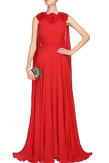 Red floral applique work flared drape panel gown by Swatee Singh