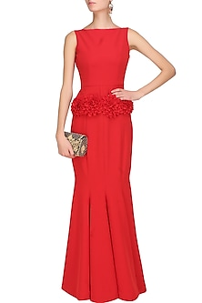 Crimson red floral applique work structured gown by Swatee Singh