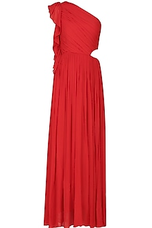 Crimson red one shoulder ruffled cutout maxi dress