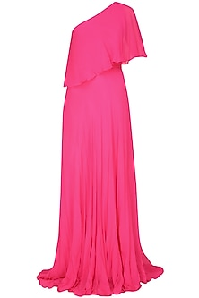Fuchsia pink one shoulder retro flared cape gown