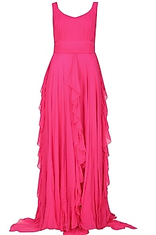 Fuchsia pink retro ruffled gown by Swatee Singh