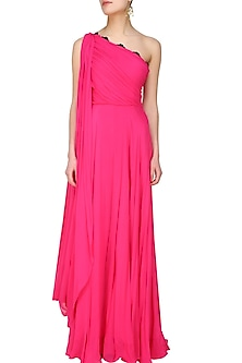 Fuchsia pink floral lace one shoulder flared gown by Swatee Singh