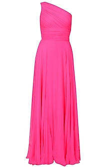 Fuchsia pink one shoulder retro flared gown by Swatee Singh