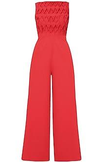 Crimson red rombo textured wide legged jumpsuit
