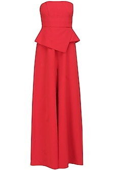Crimson red tube panel with overlapped peplum jumpsuit