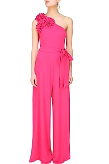 Fuchsia pink one shoulder floral applique work jumpsuit by Swatee Singh