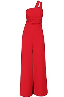 Crimson red double strap pleated wide legged jumpsuit
