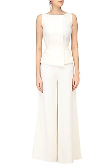 Ivory Overlapping Drape Jumpsuit by Swatee Singh