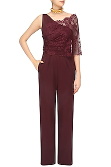 Maroon Chanitly Cae One Shoulder Jumpsuit by Swatee Singh