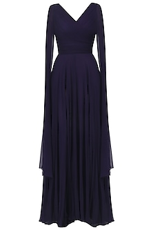 Navy Blue Overlapping Pleated Drape Gown