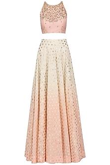 Chanderi Peach Top and Skirt Set by Sawan Gandhi