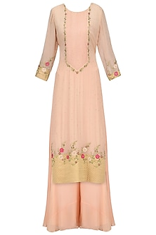 Georgette Peach Chandbali Work Straight Suit with Sharara
