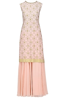A Peach Crepe Stright Suit with Skirt and Dupatta