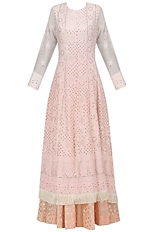 A Peach Chikan Anarkali with Chanderi Skirt and Georgette Dupatta