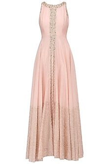 A Peach French Knot Chanderi Gown