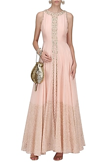A Peach French Knot Chanderi Gown by Sawan Gandhi