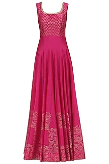 Hot Pink Chanderi Anarkali