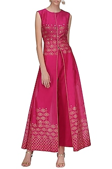 Hot Pink A Line Chanderi Cape with Pallazo by Sawan Gandhi