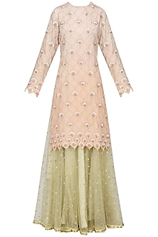 Peach Piyali and Resham Boote Short Skirt In Chanderi with Net Dupatta