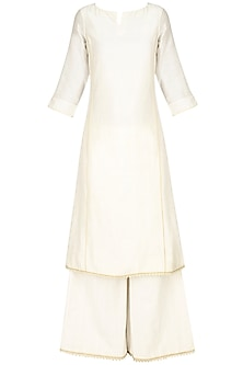 Ivory lace chanderi kurta and textured palazzos set