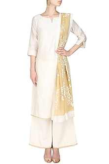 Ivory lace chanderi kurta and textured palazzos set by SWGT By Shweta Gupta