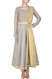 Ash grey handcut mtoifs kalidaar kurta and churidaar pants set by SWGT By Shweta Gupta