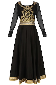 Murky black handcut mtoifs kalidaar kurta and churidaar pants set