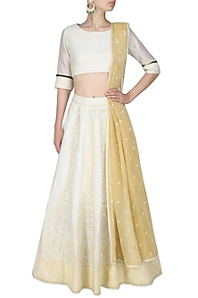 Ivory and gold aureate pale handcut motifs blouse and lehenga set by SWGT By Shweta Gupta