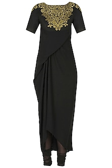 Black handcut motif murky drape kurta and churidaar pants set