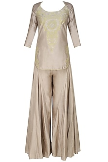 Ash grey handcut motif short kurta and flared pants set