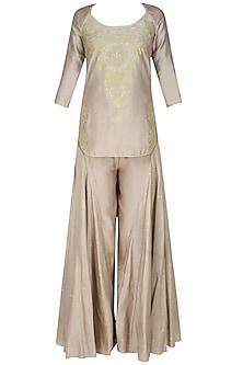 Ash grey handcut motif short kurta and flared pants set by SWGT By Shweta Gupta