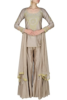 Ash grey handcut motif short kurta and flared pants set by SWGT By Shweta Gupta