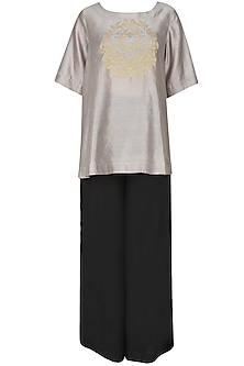 Ash grey handcut motif asymmetric flared top