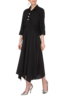 Black Dress With Pearls Buttons by Swati Jain