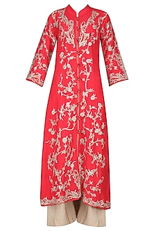 Red Embroidered Kurta with Beige Palazzo Pants