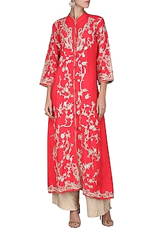 Red Embroidered Kurta with Beige Palazzo Pants by Swati Jain