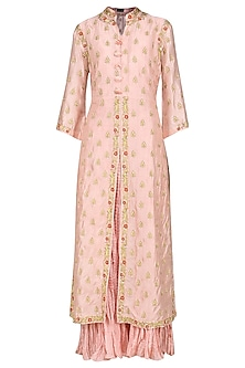 Pink Embroidered Kurta with Dupatta