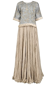 Grey Embroidered Top with Beige Skirt