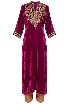 Maroon embroidered kurta with palazzo pants