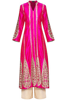 Hot pink embroidered kurta set