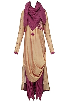 Dark Beige Embroidered Drape Kurta with Dhoti and Scarf Set
