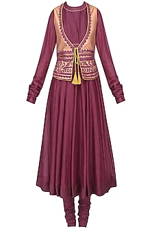 Ruby Anarkali with Embroidered Chanderi Gilet Set