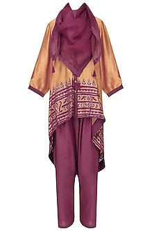 Dark Beige Asymmetric Tunic With Pants and Scarf Set
