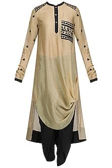 Beige Drape Kurta, Shoti Pants and Embroidered Scarf Set