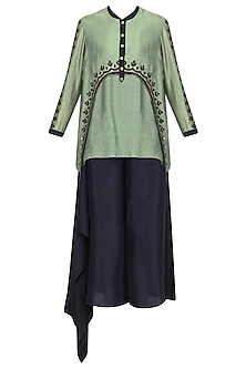 Green Asymmetric High Low Kurta and Palazzo Pants Set