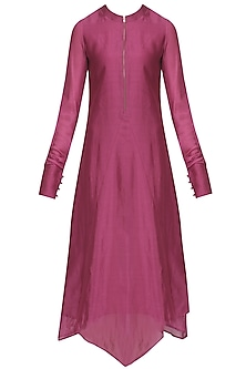 Magenta Asymmetric Tunic Dress and Scarf Set